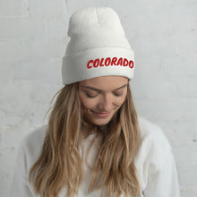Load image into Gallery viewer, Colorado Text Red, Unisex Cuffed Beanie