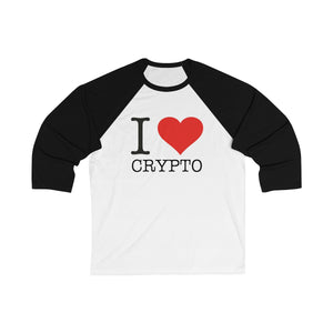 I Love Crypto, Unisex 3/4 Sleeve Baseball Tee