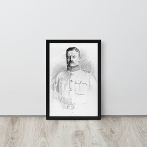 Theodore Roosevelt Potrait Drawing, Framed Poster