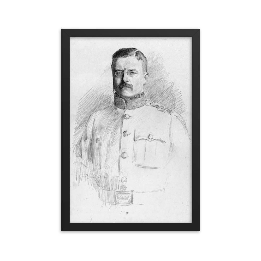 Theodore Roosevelt Potrait Drawing Framed Poster