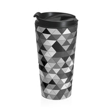 Load image into Gallery viewer, Gray Triangle Pattern, Stainless Steel Travel Mug