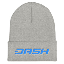 Load image into Gallery viewer, Dash Cryptocurrency Logo Text, Unisex Cuffed Beanie Gray