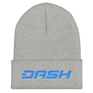 Dash Cryptocurrency Logo Text, Unisex Cuffed Beanie Gray