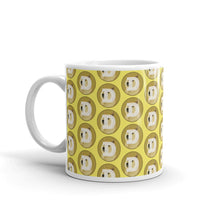 Load image into Gallery viewer, Dogecoin Logo Pattern Yellow, White Glossy Coffee Mug