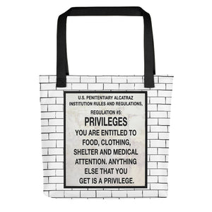 Alcatraz Prison Rules Regulation Nr 5 Brick Wall Sign, Tote bag