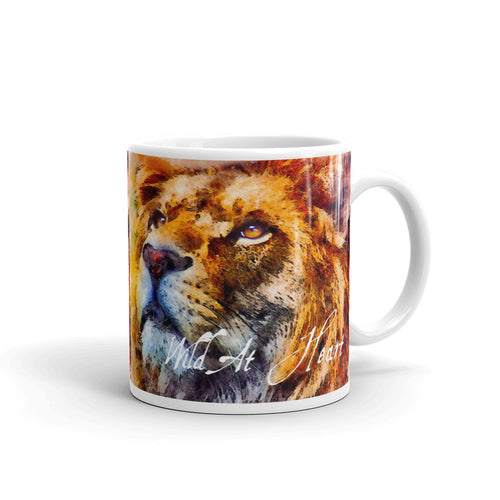 Wild At Heart Lion White Glossy Coffee Mug 11oz