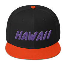 Load image into Gallery viewer, Hawaii Text Purple 3D Puff, Snapback Hat