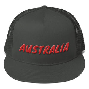 Australia Text Red 3D Puff, Mesh Back Snapback Hat CHARCOAL GRAY