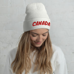 Canada Text Red, Unisex Cuffed Beanie