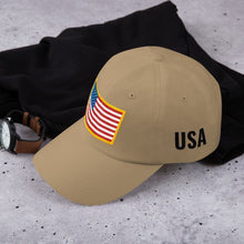 Load image into Gallery viewer, US Flag Patch Style With USA Text, Dad hat Unisex KHAKI