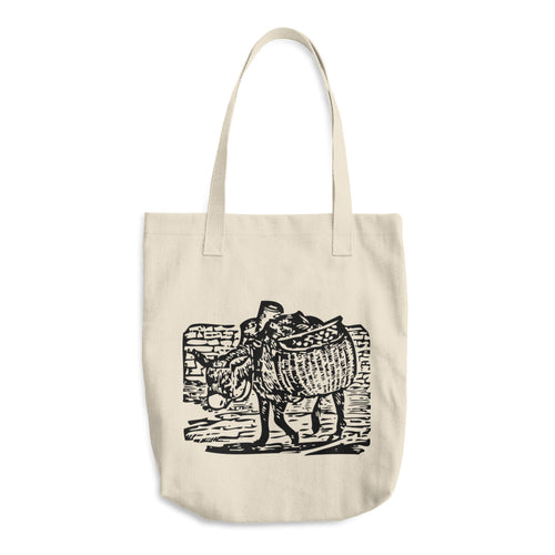 Donkey Carrying, Bull Denim Woven Cotton Tote Bag