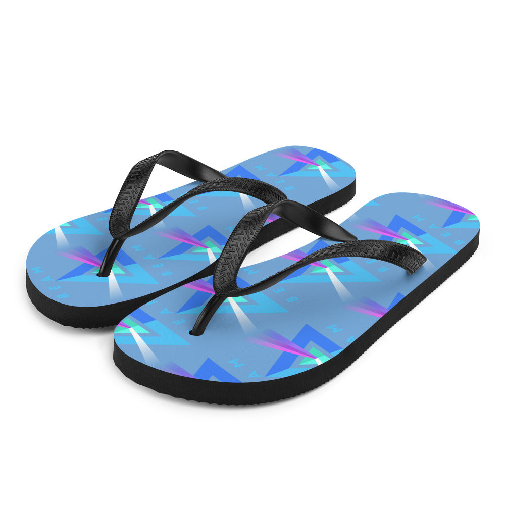 Beam Cryptocurrency Logo Pattern, Unisex Shoes, flops Blue -