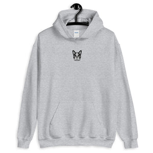 French Bulldog Face Center Chest Embroidered Unisex Hoodie