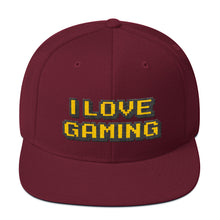 Load image into Gallery viewer, I Love Gaming Text Gold, Classic Wooled Snapback Hat