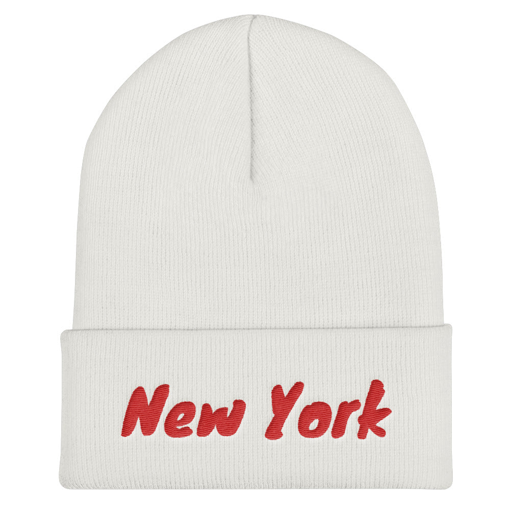 New York Text Red, Unisex Cuffed Beanie