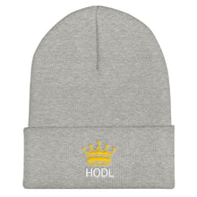 Load image into Gallery viewer, HODL Crypto Currency Adage Text With Crown, Unisex Cuffed Beanie