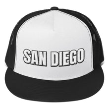 Load image into Gallery viewer, San Diego Text Partial 3D Puff, Trucker Cap