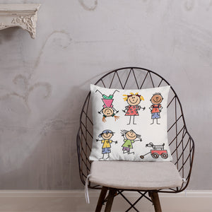 Kids Life Cartoon Style, Premium Throw Pillow