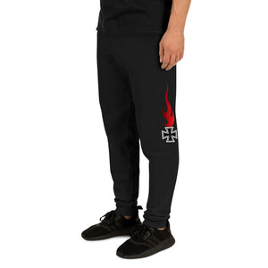Maltese Cross Flames, Unisex Joggers Black