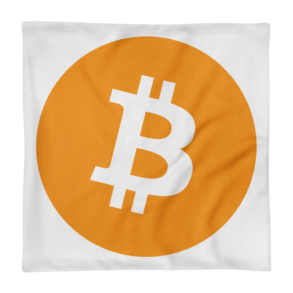 Bitcoin Cryptocurrency Logo, Premium Pillow Case only WITE