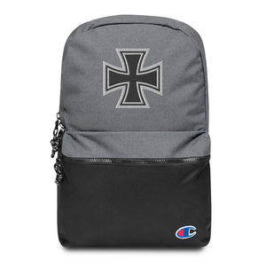 Maltese Cross Chopper Style Biker Embroidered Champion Premium Backpack