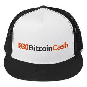 Bitcoin Cash Cryptocurrency Logo and Text, Classic Trucker Cap