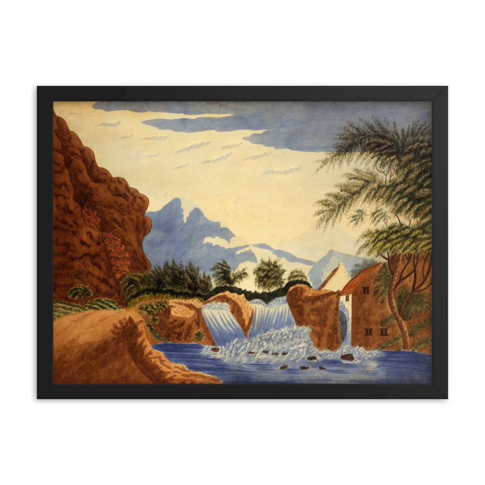 Mountain Scene and Waterwheel Watercolor Painting, Framed Poster