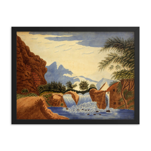 Mountain Scene and Waterwheel Watercolor Painting Framed Poster