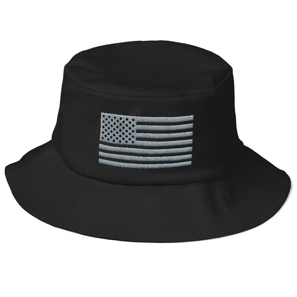 Gray and Black US Flag, Bucket Hat Color Black