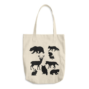 Forest Animals Silhouette, Bull Denim Woven Cotton Tote Bag