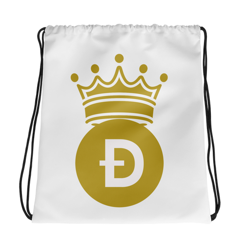 Dogecoin D Symbol With Crown, Drawstring bag