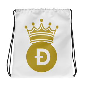 Doge Coin D Symbol With Crown, Drawstring bag