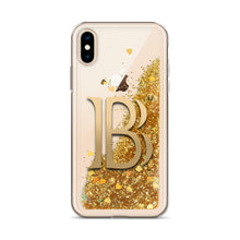 Load image into Gallery viewer, BlackCoin BLK Cryptocurrency Symbol, Liquid Gold Glitter iPhone Case