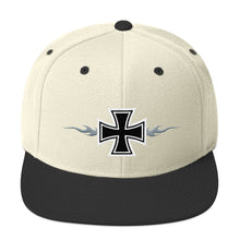 Load image into Gallery viewer, Maltese Cross Flames Gray 3D Puff, Snapback Hat