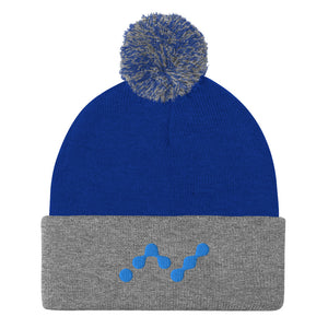 Nano Cryptocurrency Logo, Pom-Pom Knit Beanie