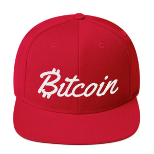Bitcoin Text With Script Letters White 3D Puff, Snapback Hat