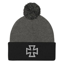 Load image into Gallery viewer, Maltese Cross, Pom Pom Knit Cap