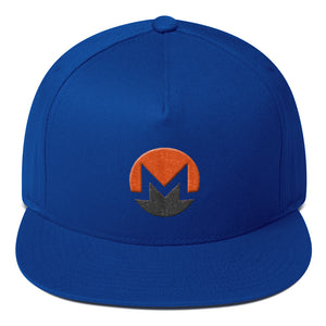 Monero Cryptocurrency Logo Two Part 3D Puff, Snapback Hat Blue
