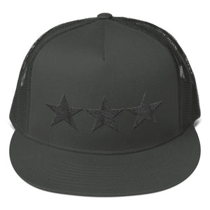 3 Star General Style Black 3D Puff, Designer Mesh Back Snapback Hat