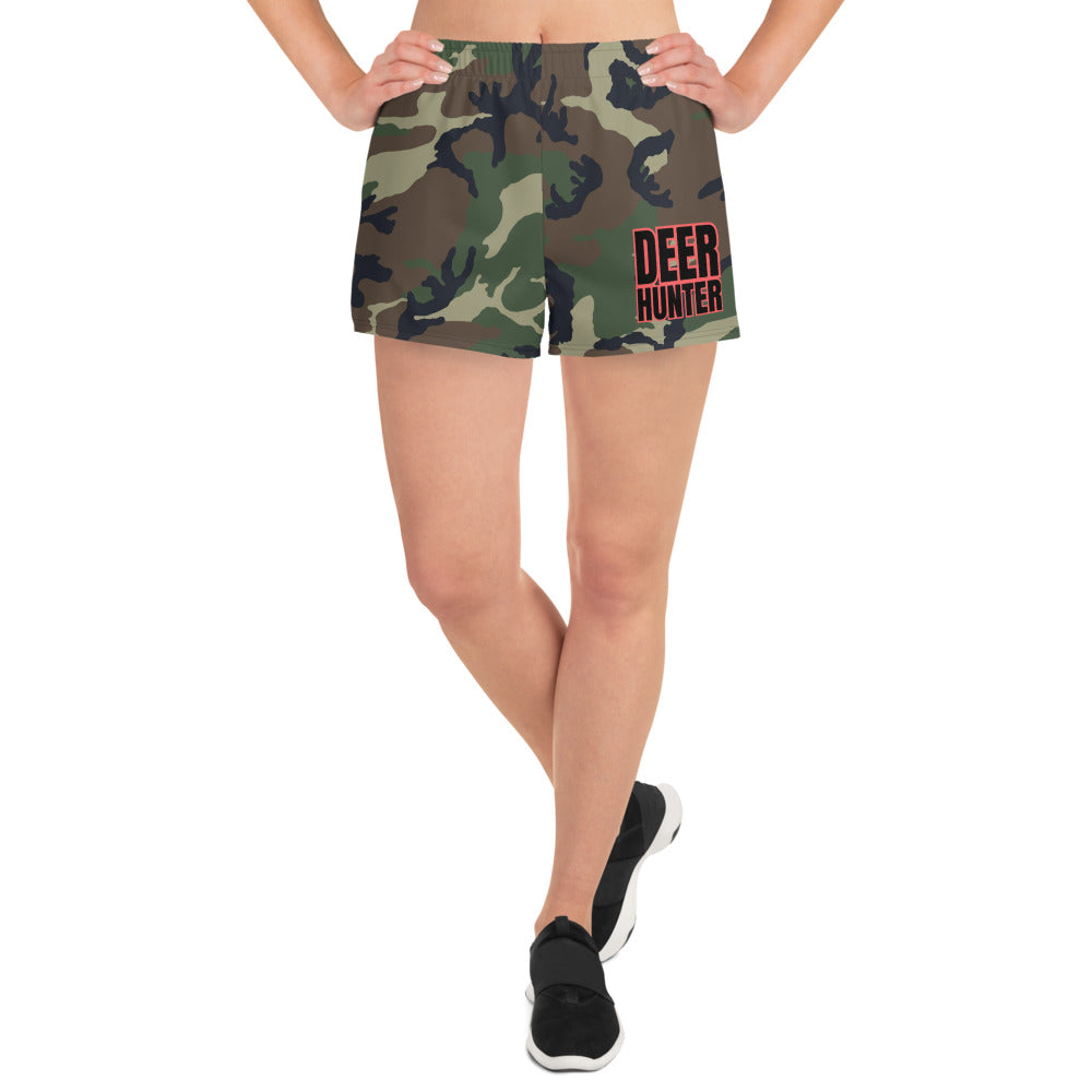 Deer Hunter Text Camouflage Pattern Print, Women's Athletic Short Shorts