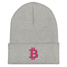 Load image into Gallery viewer, Bitcoin BTC Symbol Hot Pink, Unisex Cuffed Beanie