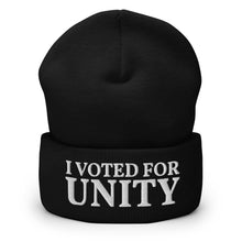 Load image into Gallery viewer, I Voted For Unity Text Embroidered on Unisex Cuffed Beanie