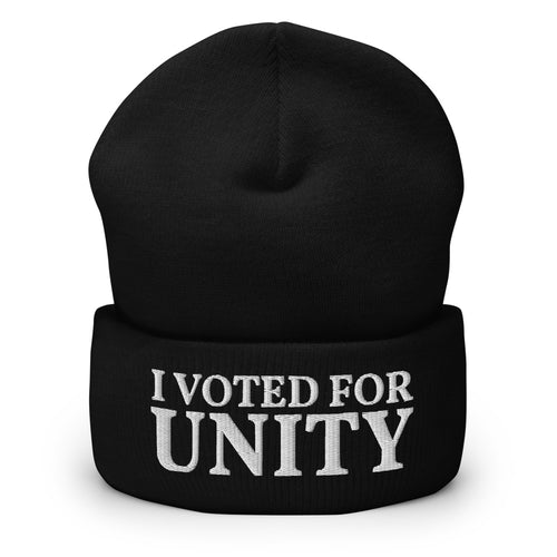 I Voted For Unity Text Embroidered on Unisex Cuffed Beanie