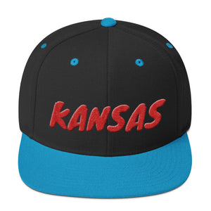 Kansas Text Red 3D Puff, Snapback Hat