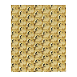Dogecoin Shiba Inu Pattern, Throw Blanket