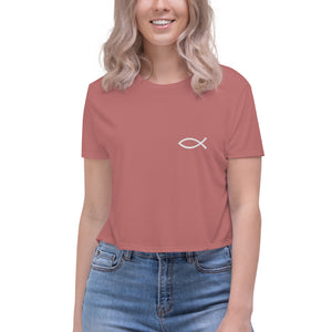 Christian Religious Fish Symbol, Embroidered Crop Tee