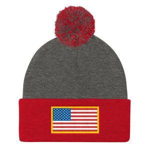 USA Flag Patch Style Printed, Pom Pom Knit Cap