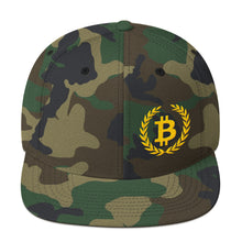Load image into Gallery viewer, Bitcoin Wreath Gold, Snapback Hat Camouflage