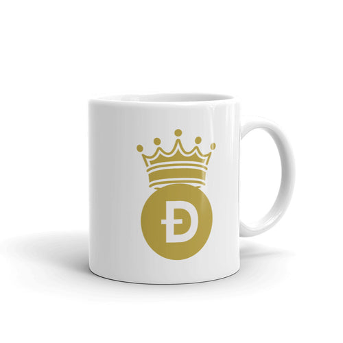Doge Coin D Symbol With Crown, White Glossy Coffee Mug