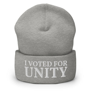 I Voted For Unity, Embroidered Unisex Cuffed Beanie